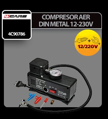 Compresor aer din metal 4Cars 12/230V