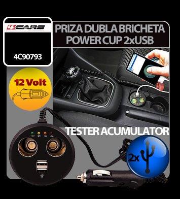 Priza dubla Power Cup la bricheta cu tester acum. + USB 12V 4Cars