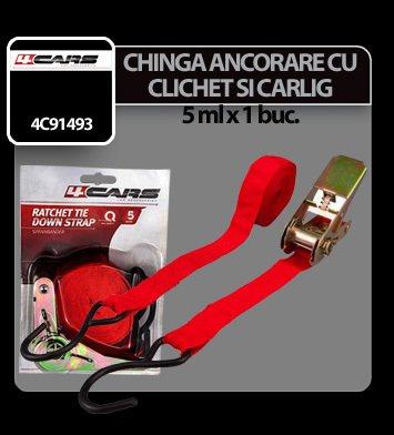 Chinga ancorare cu clichet si carlig 4Cars 1buc - 5m