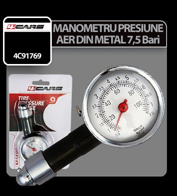 Manometru presiune aer din metal 7,5 Bar 4Cars