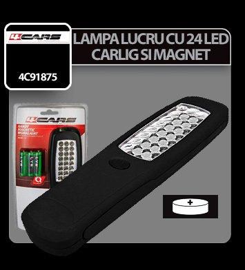 Lampa de lucru cu 24 LED-uri si magnet 4Cars