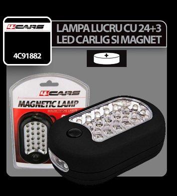 Lampa de lucru cu 24+3 LED-uri si magnet 4Cars