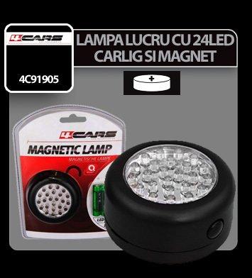 Lampa de lucru cu 24 LED-uri si magnet rotunda 4Cars