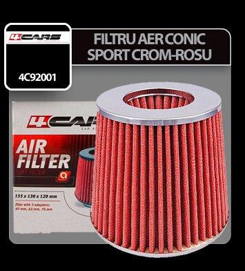 Filtru aer conic sport 4Cars - Crom/Rosu