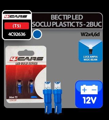 Bec tip LED 12V 1,2W soclu plastic T5 W2x4,6d 2buc 4Cars - Albastru dispersat
