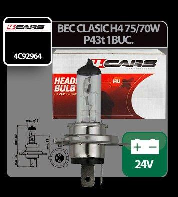 Bec clasic H4 75/70W P43t 24V 4Cars 1buc