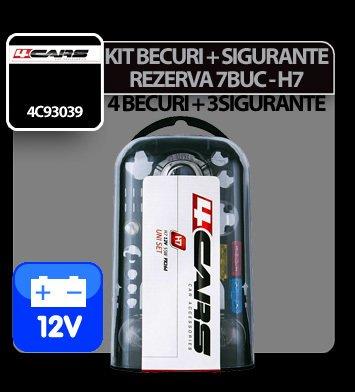 Kit becuri si sigurante 7 buc, 12V - halogen H7 4Cars