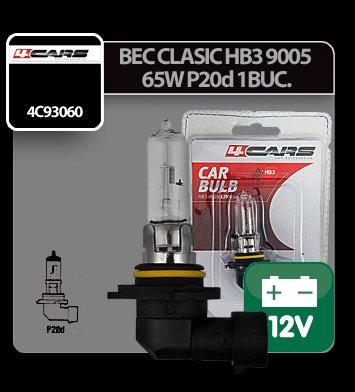 Bec clasic HB3 9005 65W P20d 12V 4Cars 1buc