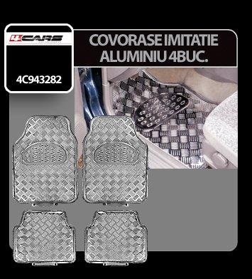 Covorase imitatie aluminiu 4buc - Crom