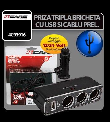 Priza tripla bricheta cu USB si cablu prelungitor 12/24V 4Cars