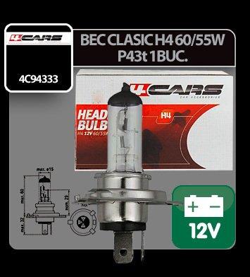 Bec clasic H4 60/55W P43t 12V 4Cars 1buc