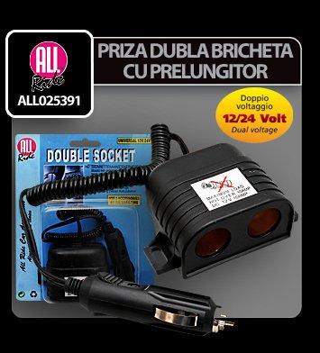 Priza dubla bricheta cu prelungitor 12/24V All-Ride