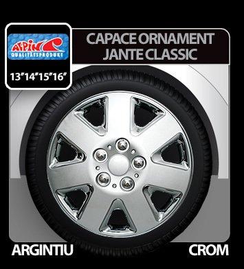 Capace ornament jante Classic 4buc - Argintiu/Crom - 13''