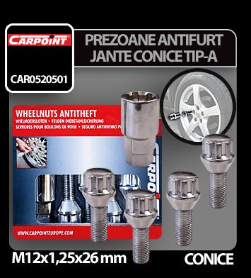 Prezoane antifurt jante conice M12x1,25 mm 4 buc - Tip A