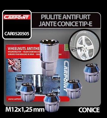 Piulite antifurt jante conice M12x1,25 mm 4 buc - Tip E