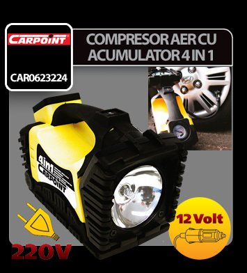Compresor aer cu acumulator reincarcabil 4 in 1 - 12V