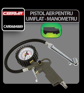Pistol aer pentru umflat cu manometru pentru camioane Carpoint