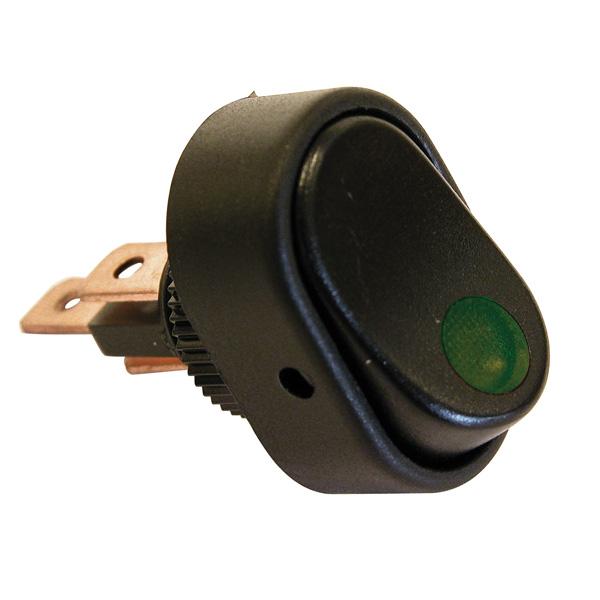 Intrerupator basculant cu LED 12V - 30A - Verde
