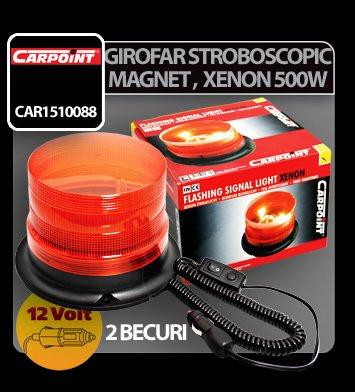 Girofar stroboscopic galben cu magnet, xenon 500W 12V