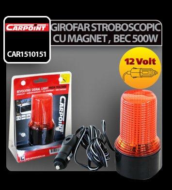 Girofar stroboscopic mic galben cu magnet, 500W 12V