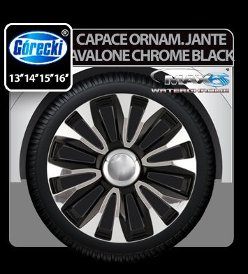 Capace ornament jante Avalone chrome black 4buc - 15''