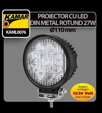 Proiector cu led din metal rotund 27W 12/24V Kamar