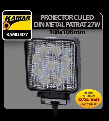 Proiector cu led din metal patrat 27W 12/24V Kamar