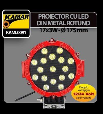 Proiector cu led din metal rotund 17x3W - 12/24V Kamar