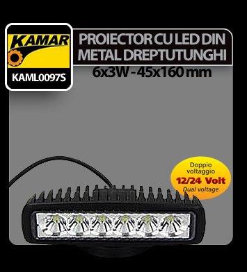 Proiector cu led din metal dreptunghiular 6x3W - 12/24V Kamar