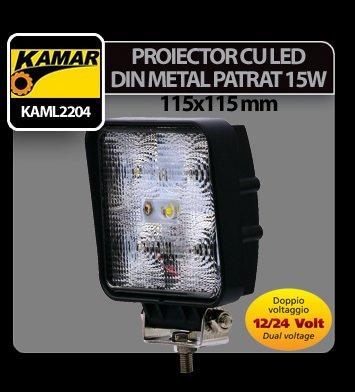 Proiector cu led din metal patrat 15W 12/24V Kamar
