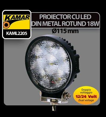Proiector cu led din metal rotund 18W 12/24V Kamar