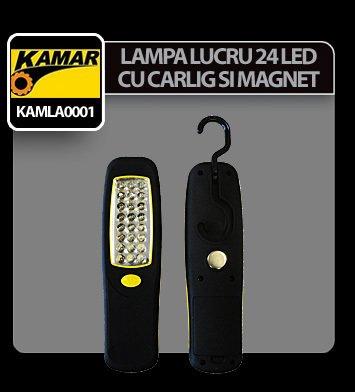 Lampa de lucru cu 24 LED-uri si magnet Kamar - Negru/Galben