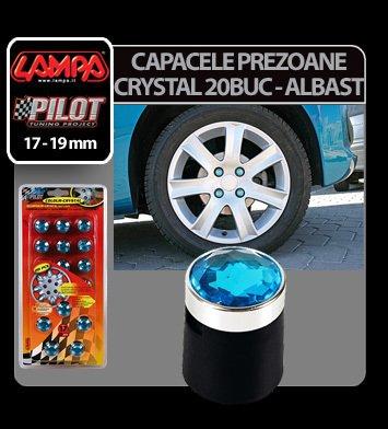 Ornamente prezoane crystal 20 buc - Hex 17 mm - Albastru