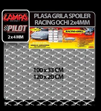 Plasa grila spoiler Racing Argintiu - Small 2x4 mm 100x33 cm