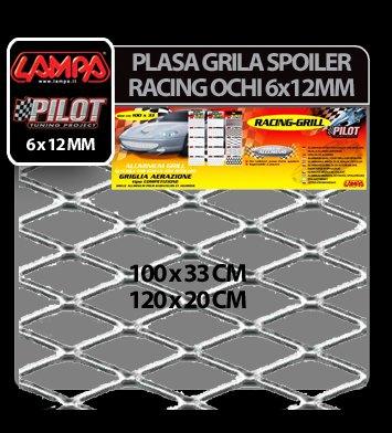 Plasa grila spoiler Racing Argintiu - Medium 6x12 mm - 120x20 cm