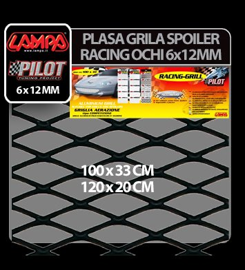 Plasa grila spoiler Racing Negru - Medium 6x12 mm - 120x20 cm