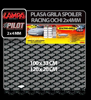 Plasa grila spoiler Racing Negru - Small 2x4 mm - 120x20 cm
