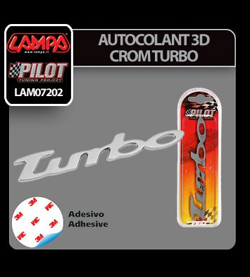 Autocolant 3D crom Turbo