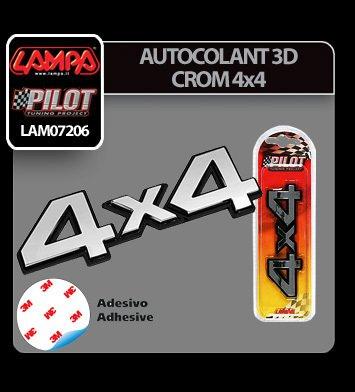 Autocolant 3D crom 4x4