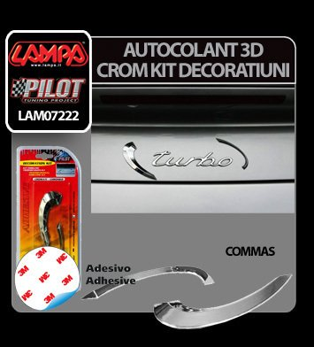Autocolant 3D crom kit decoratiuni Commas