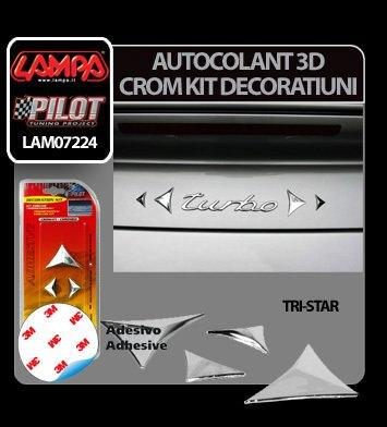 Autocolant 3D crom kit decoratiuni Tri-Star