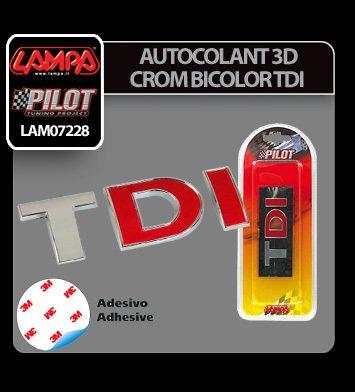 Autocolant 3D crom bicolor TDI