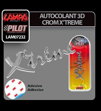 Autocolant 3D crom Xtreme