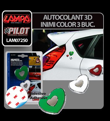 Autocolant 3D Inimi color set 3 buc