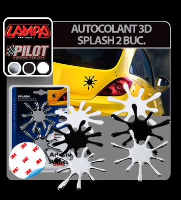 Autocolant 3D Splash set 2 buc - Alb