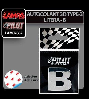 Autocolant 3D crom Type-3 (28 mm) litera - B