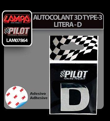 Autocolant 3D crom Type-3 (28 mm) litera - D