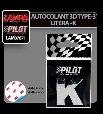 Autocolant 3D crom Type-3 (28 mm) litera - K