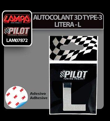 Autocolant 3D crom Type-3 (28 mm) litera - L