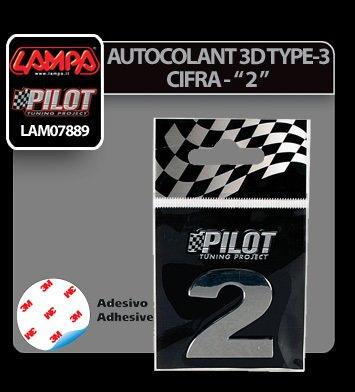 "Autocolant 3D crom Type-3 (28 mm) cifra - "" 2 """